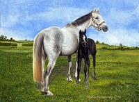Horse & Foal (White Horse, Black Foal)- The Irish National Stud